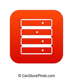 Database icon digital red