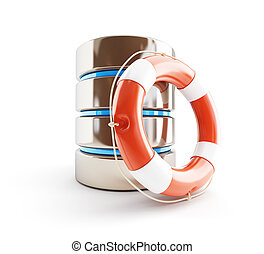 database icon life buoy 3d Illustrations on a white background