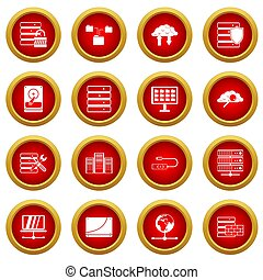 Database icon red circle set