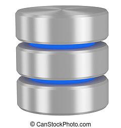 Database icon with blue elements isolated on white background