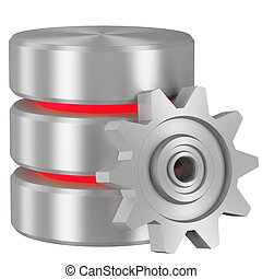 Database icon with red elements and cogwheel