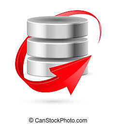 Database icon with red curved arrow as update symbol. Illustration on white.