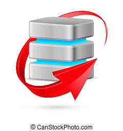 Database icon with update symbol - red curved arrow. Illustration on white.