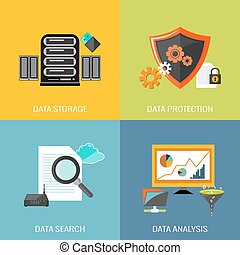 Database icons flat set with data storage protection search...