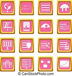 Database icons pink - Database icons set in pink color...