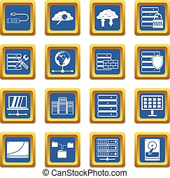Database icons set blue - Database icons set in blue color...