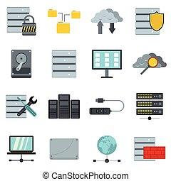 Database icons set, flat style