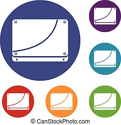Database icons set in flat circle reb, blue and green color...