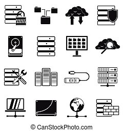 Database icons set in simple style for any design