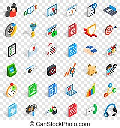 Database icons set, isometric style