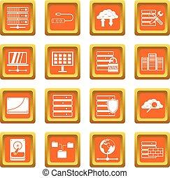 Database icons set orange