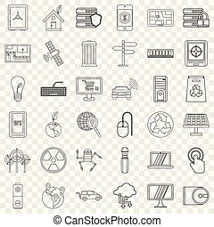 Database icons set, outline style - Database icons set....