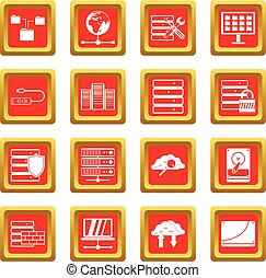 Database icons set red - Database icons set in red color...