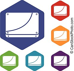Database icons set rhombus in different colors isolated on...