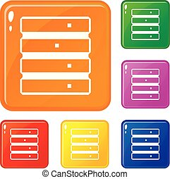 Database icons set vector color - Database icons set...