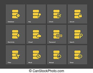 Database icons. Vector illustration.
