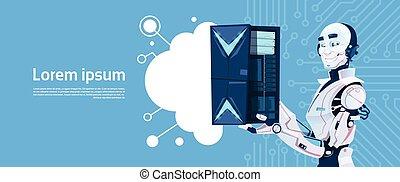 database, intelligenza, moderno, robot, artificiale, server, nuvola, meccanismo, presa, tecnologia, futuristico
