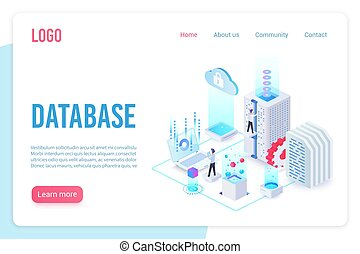 Database landing page isometric vector template. Internet of things, data server storage 3d web banner. Wireless technologies, telecommunication. Cloud computing service website homepage layout.