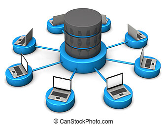 Database Laptops - Laptops connected with database on the...