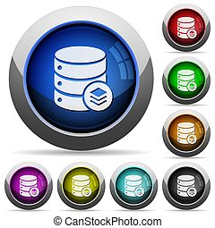 Database layers round glossy buttons