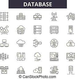 Database line icons, signs set, vector. Database outline concept, illustration: database, technology, data, information, computer, network, storage, server