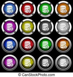 Database lock white icons in round glossy buttons on black background