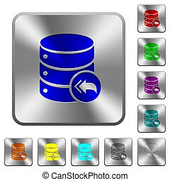 Database loopback rounded square steel buttons
