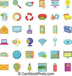 Database network icons set, cartoon style