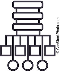 database network illustration vector line icon, sign, illustration on background, editable strokes