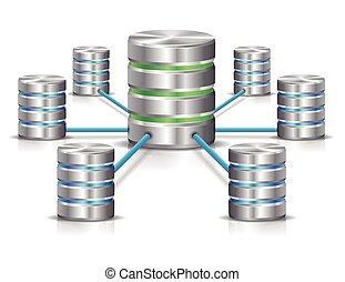 Database network - Metallic database networking concept.