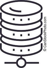 database network vector line icon, sign, illustration on background, editable strokes