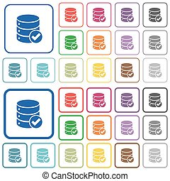 Database ok outlined flat color icons