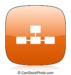 database orange square web design glossy icon