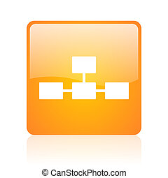 database orange square web glossy icon