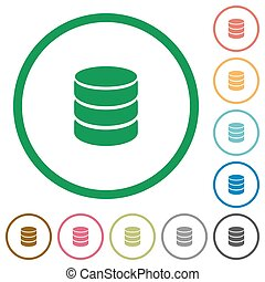 Database outlined flat icons