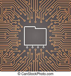 Database Over Computer Chip Moterboard Background Data Center System Concept Banner