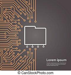 Database Over Computer Chip Moterboard Background Data Center System Concept Banner