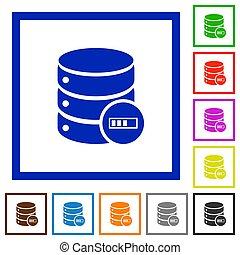 Database processing flat framed icons