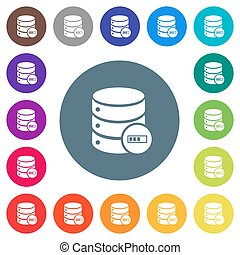 Database processing flat white icons on round color backgrounds