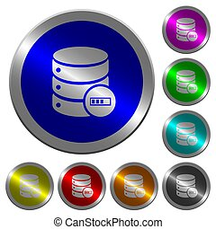 Database processing luminous coin-like round color buttons