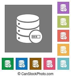 Database processing square flat icons