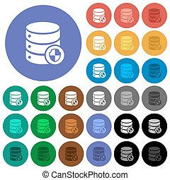 Database protection round flat multi colored icons