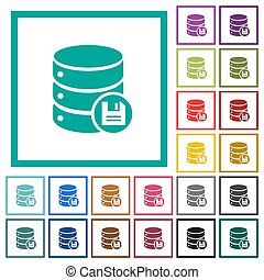 Database save flat color icons with quadrant frames
