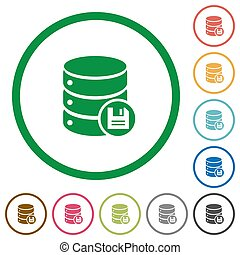 Database save flat icons with outlines