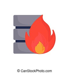 database server fire on white background
