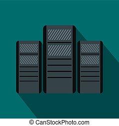 Database servers icon, flat style