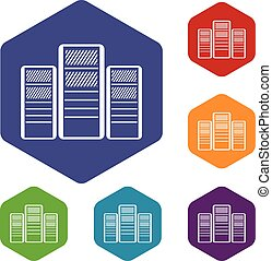 Database servers icons set