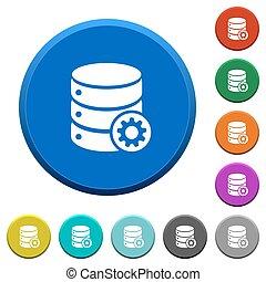 Database settings beveled buttons