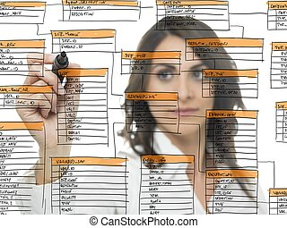 Database software development - Businesswoman works on the ...