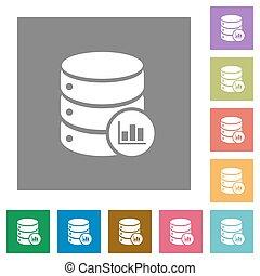 Database statistics square flat icons